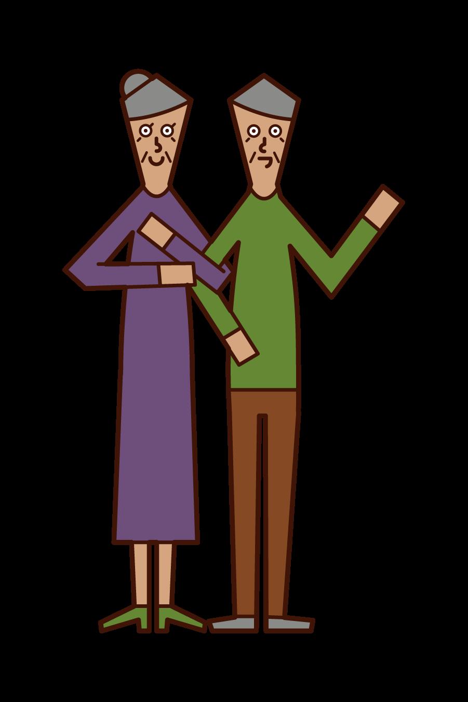 仲の良い老夫婦のイラスト