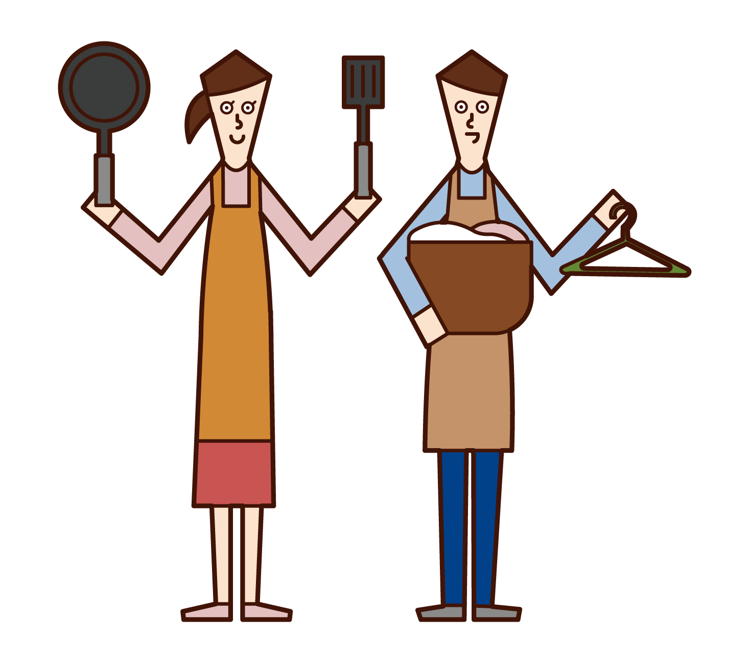 Illustration of a couple sharing housework
