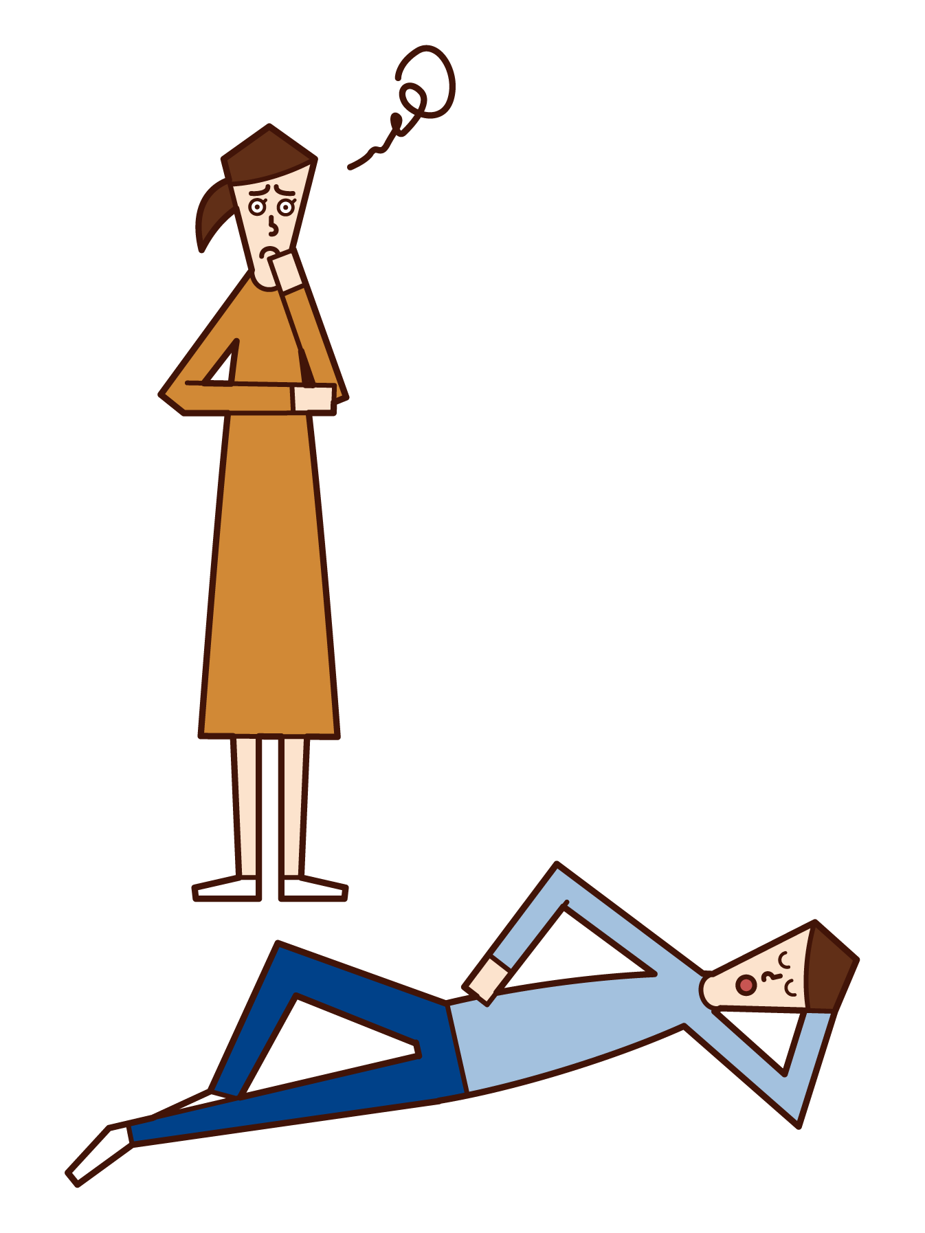 Illustration of husband who does not do housework