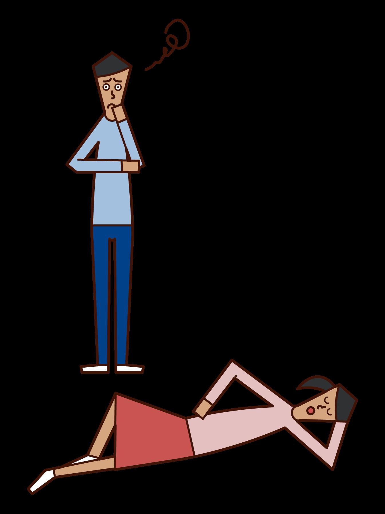 家事をしない妻のイラスト