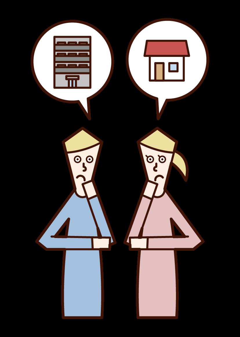 家の購入を悩む夫婦のイラスト