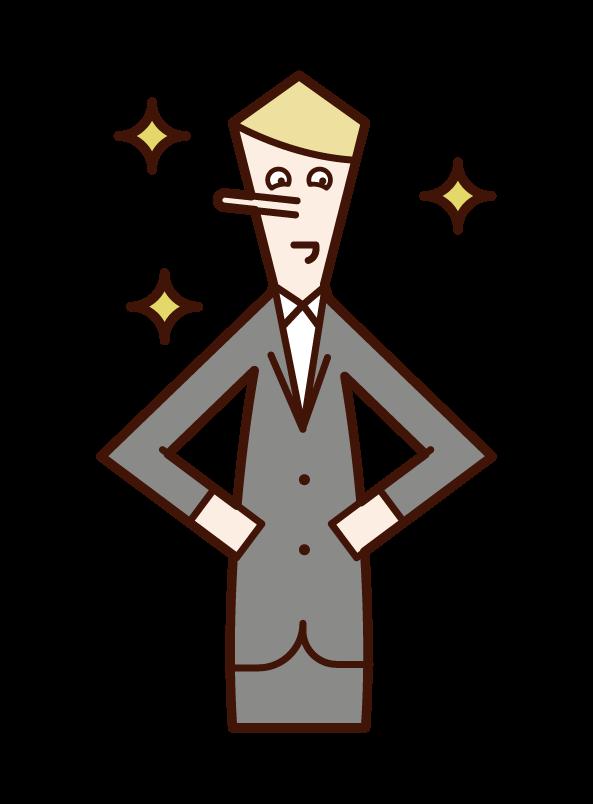 鼻が高い人・うぬぼれる人(男性)のイラスト
