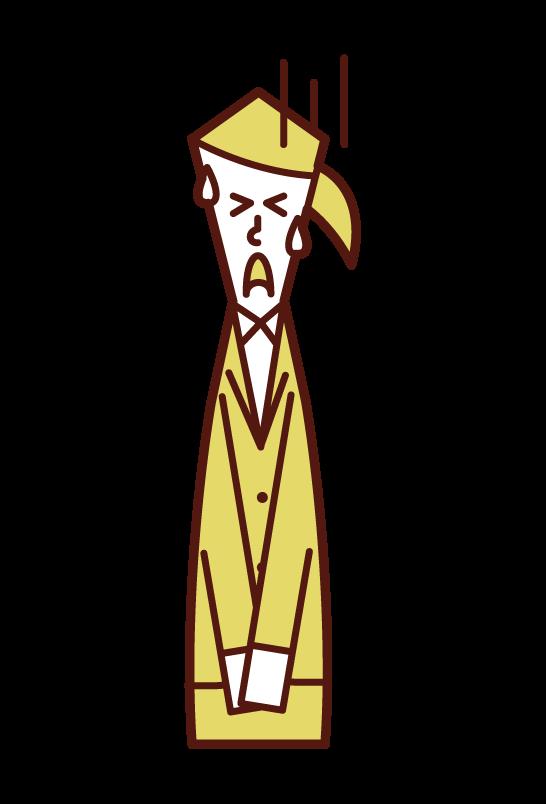 謝罪する人(女性)のイラスト