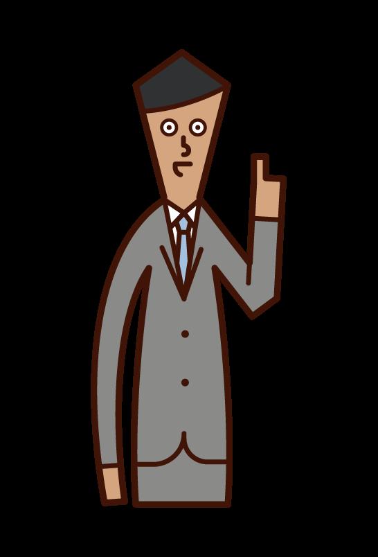 アドバイスをする人(男性)のイラスト