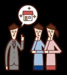 家の購入を相談する夫婦・マイホームのイラスト