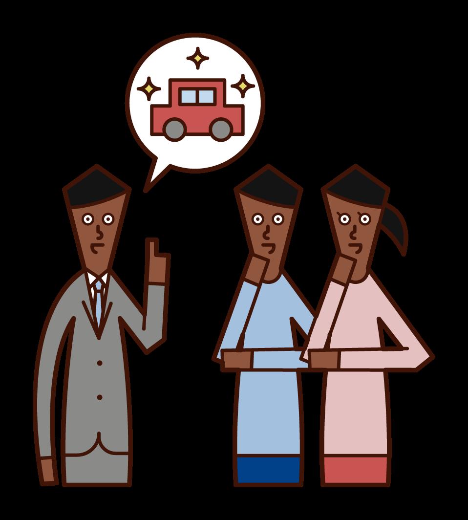 新車の購入を相談する夫婦のイラスト