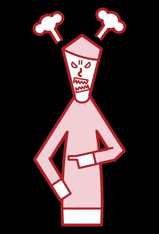 怒る人(男性)のイラスト
