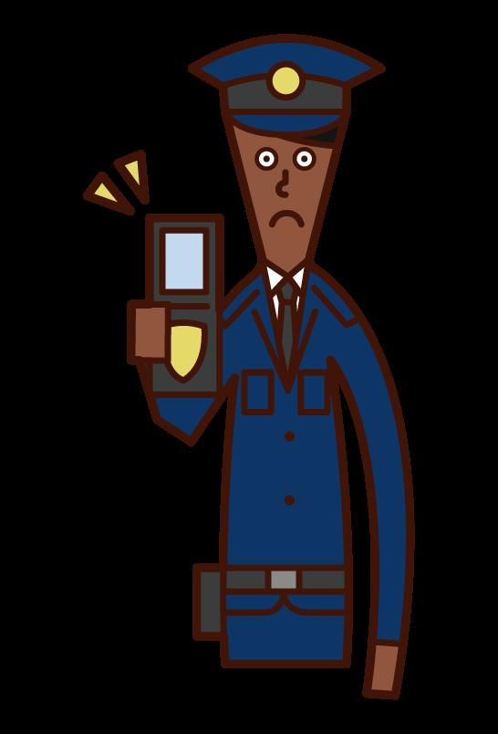 警察手帳を見せる警官(男性)のイラスト
