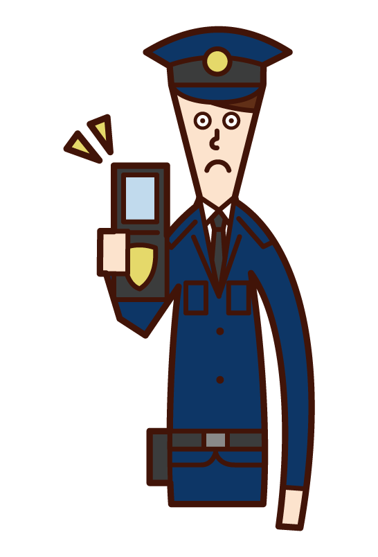 Illustration of a police officer (man) showing a police notebook