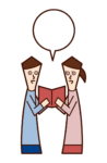 Illustration of couple consulting on shopping