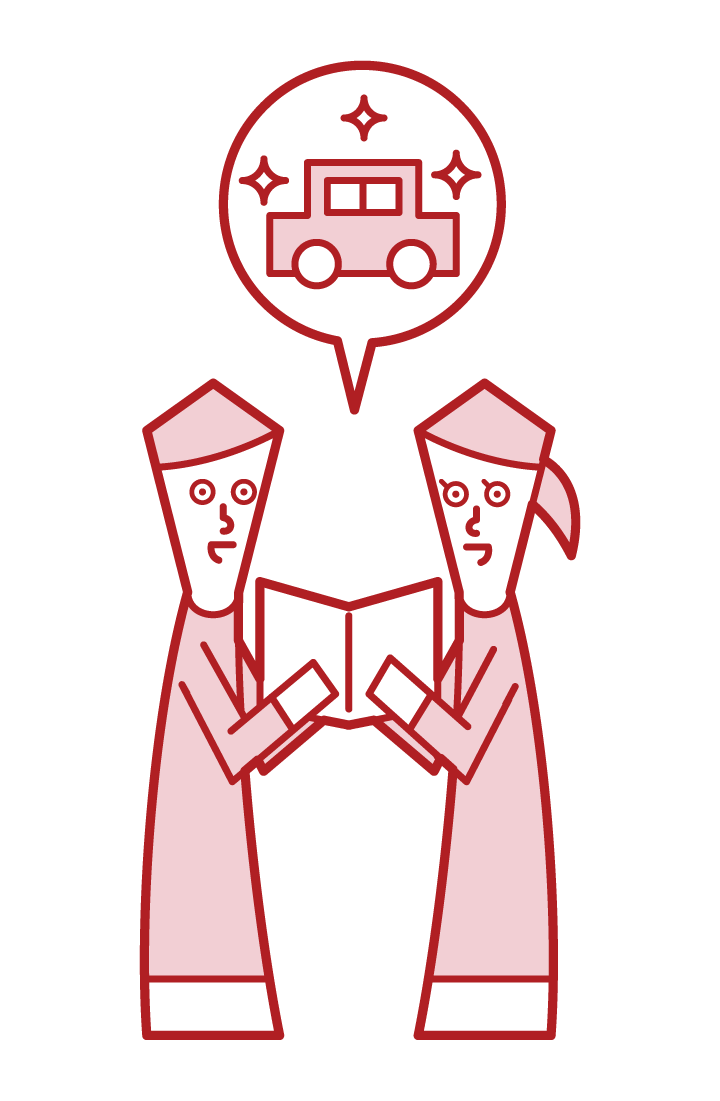 車の購入を相談をするカップルのイラスト