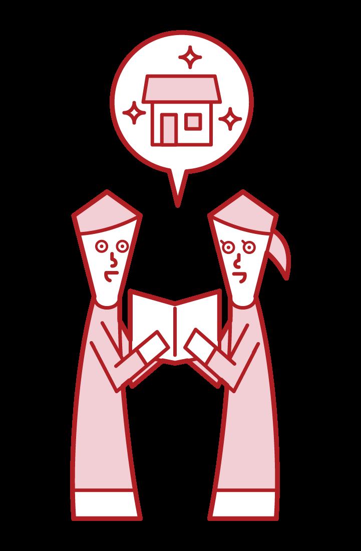 家の購入を相談をするカップルのイラスト