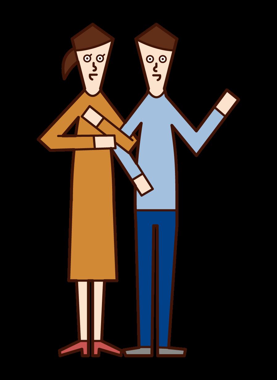 仲の良い夫婦のイラスト