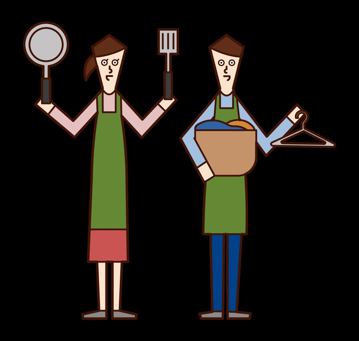 家事を分担する夫婦のイラスト