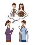 Illustration of a son (man) who is rushed to marry by his mother
