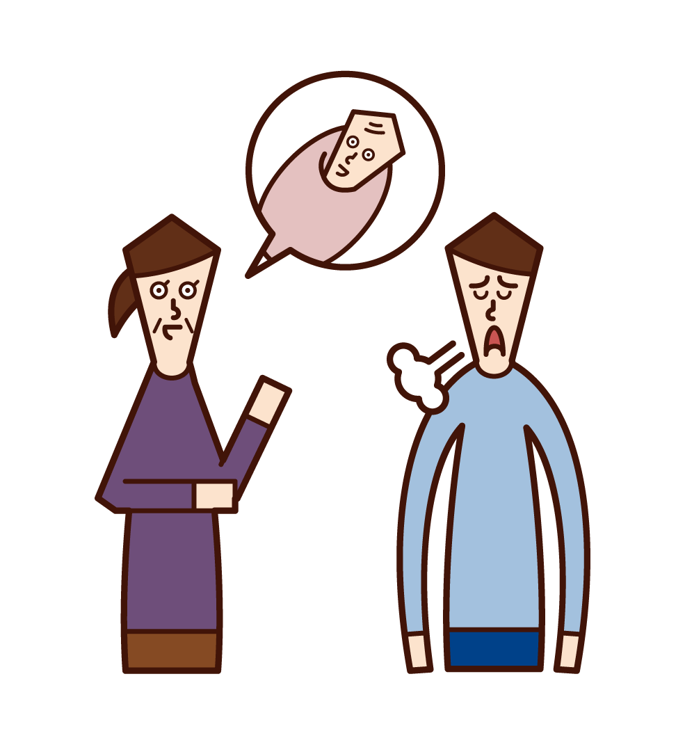 Illustration of a son (man) who is rushed to give birth to a child