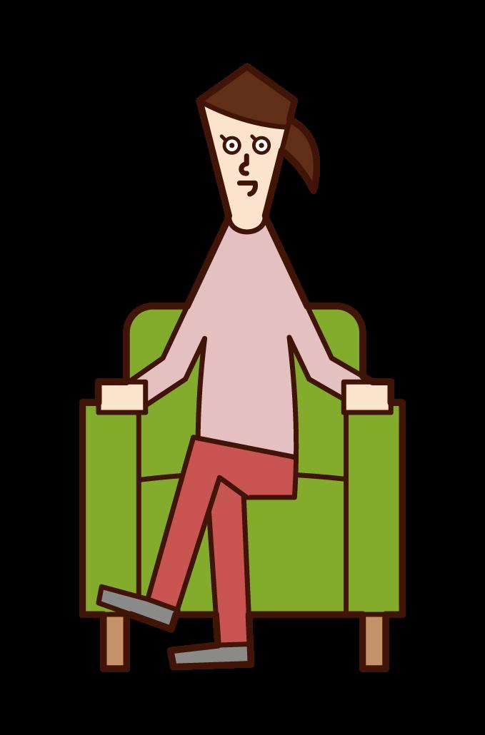 雙腿坐在沙發上的人(女性)的插圖