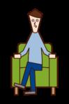 脚を組んでソファに座る人(男性)のイラスト