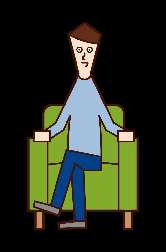 雙腿坐在沙發上的人(男性)的插圖