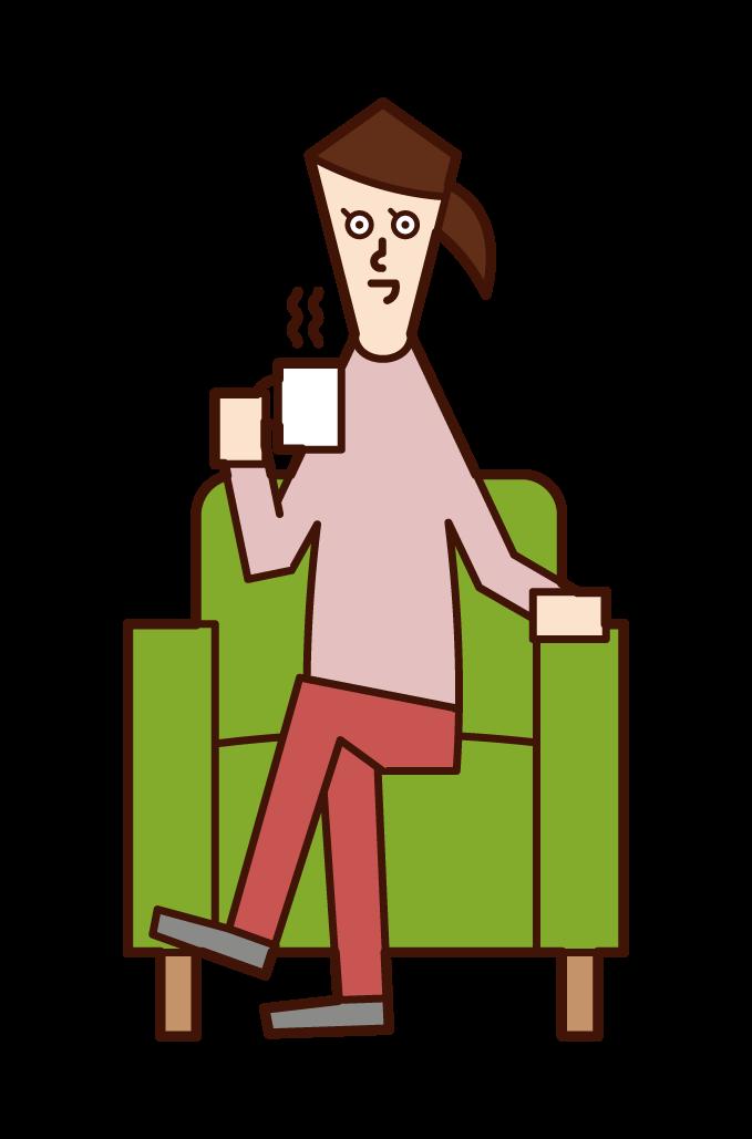坐在沙發上喝咖啡的人(女性)的插圖