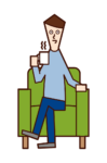 Illustration of a woman sitting on a sofa drinking coffee