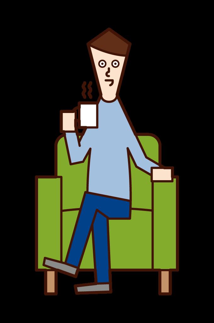 소파에 앉아 커피를 마시는 사람(여성)의 일러스트