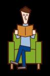 ソファに座って本を読む人(男性)のイラスト