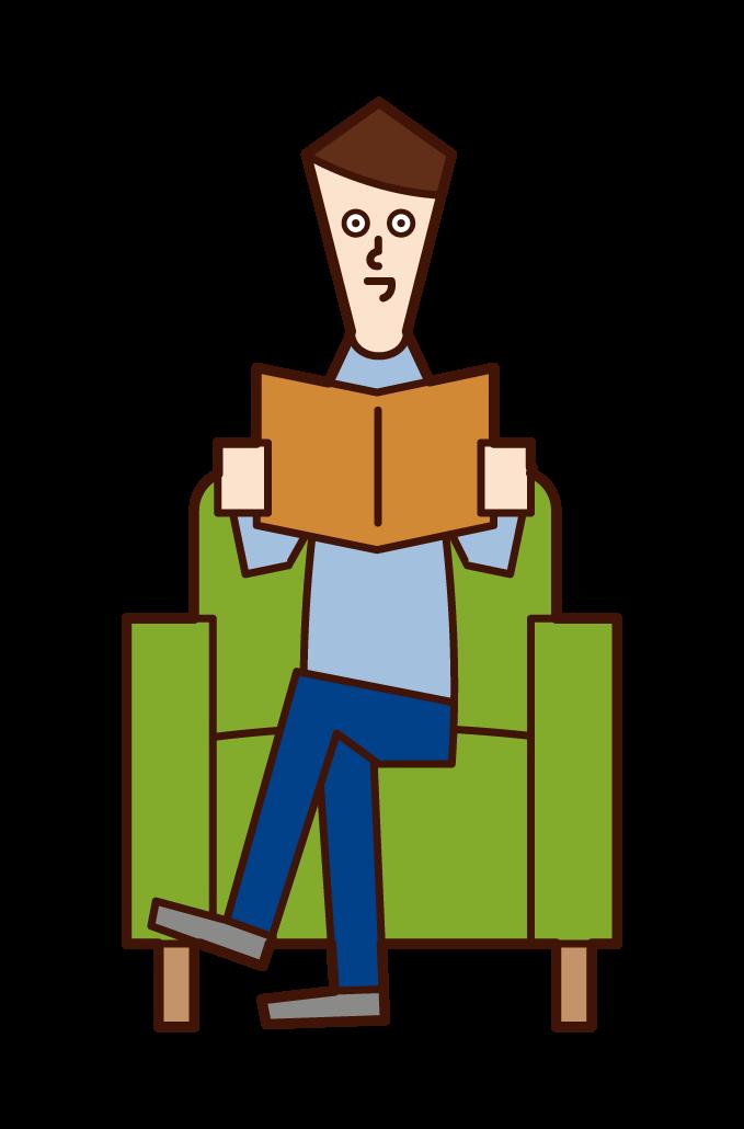 소파에 앉아 책을 읽는 사람(남성)의 일러스트