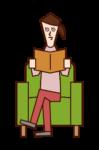 坐在沙發上看書的人(女性)的插圖