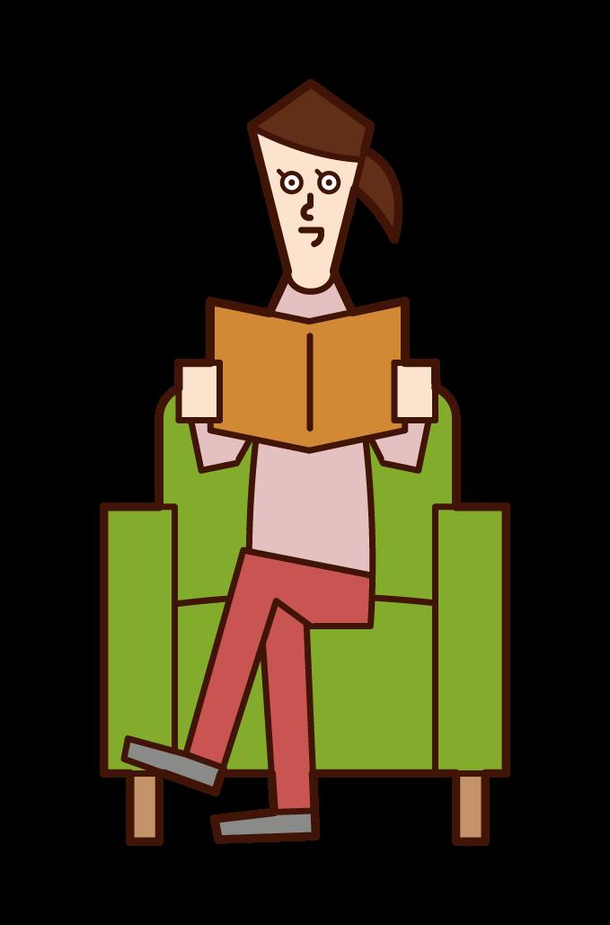 ソファに座って本を読む人(女性)のイラスト