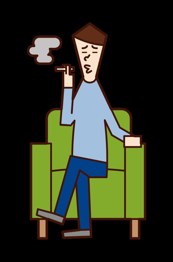소파에 앉아 담배를 피우는 사람(남성)의 일러스트