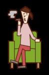소파에 앉아 담배를 피우는 사람(여성)의 일러스트