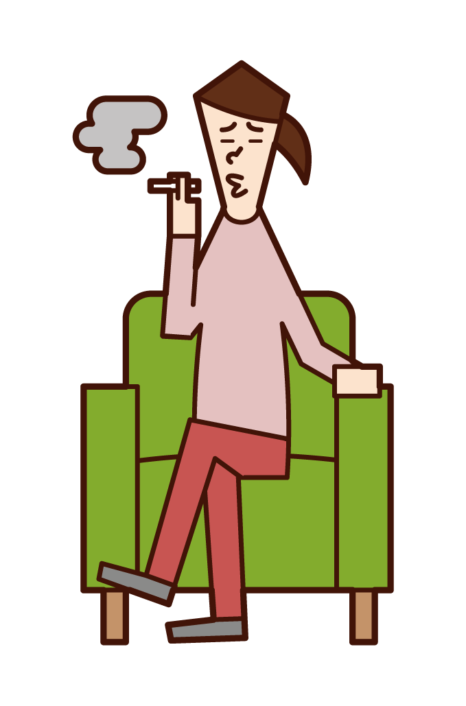 Illustration of a woman sitting on a sofa and smoking a cigarette