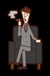 坐在沙發上抽煙的人(男性)的插圖