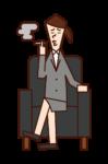 坐在沙發上抽煙的人(女人)的插圖