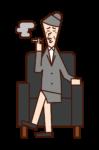 Illustration of president (woman) sitting on sofa and smoking