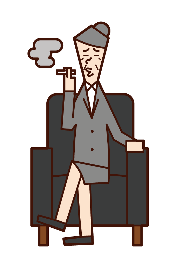 소파에 앉아 담배를 피우는 대통령(여성)의 일러스트