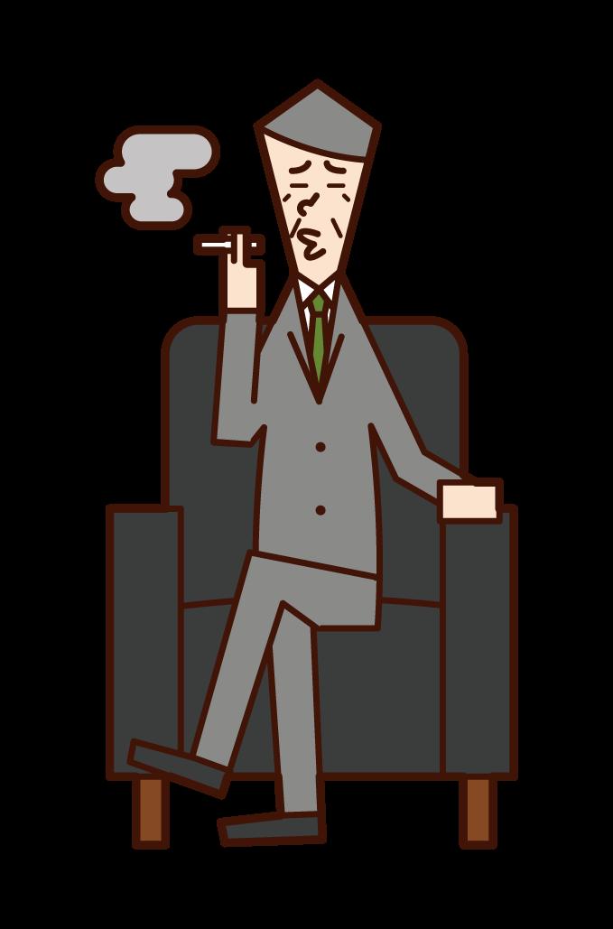 Illustration of president (man) sitting on sofa and smoking
