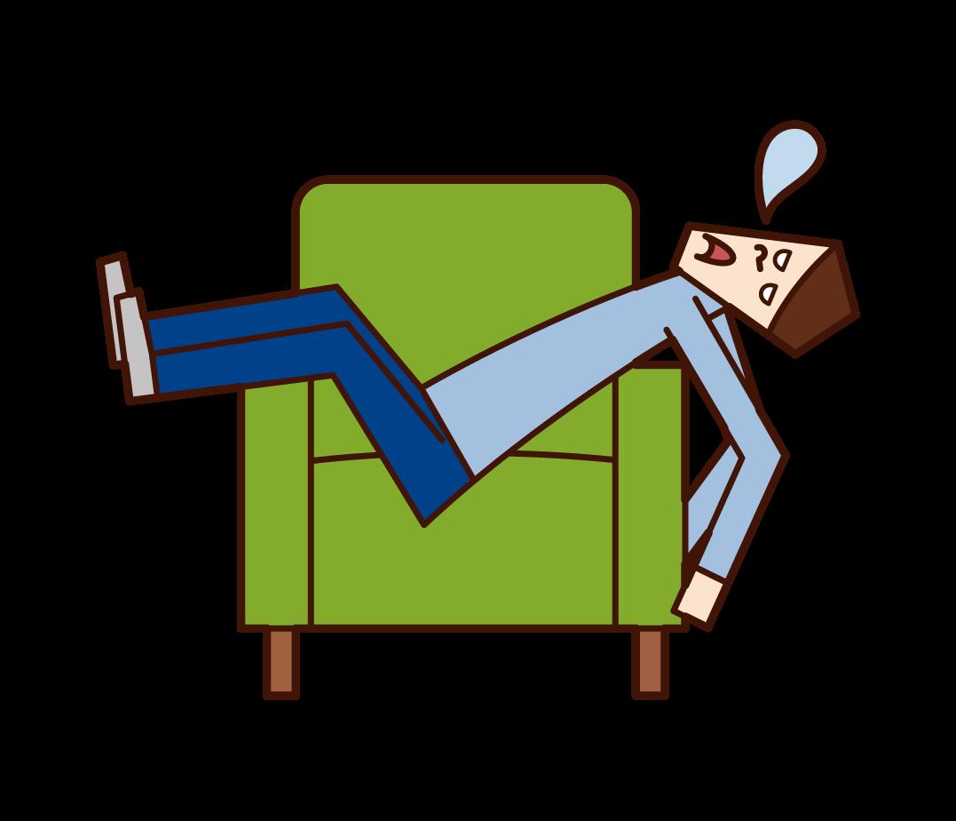 소파에서 자고있는 사람 (남성)의 그림