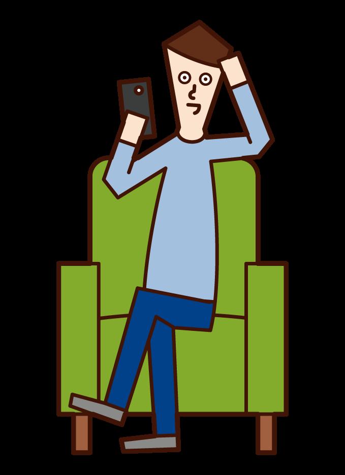 스마트폰을 사용하는 사람(남성)의 일러스트를 앉아 있다