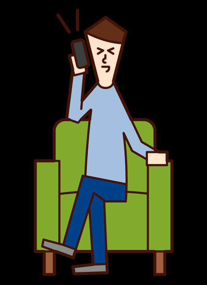 電話を楽しむ人(男性)のイラスト