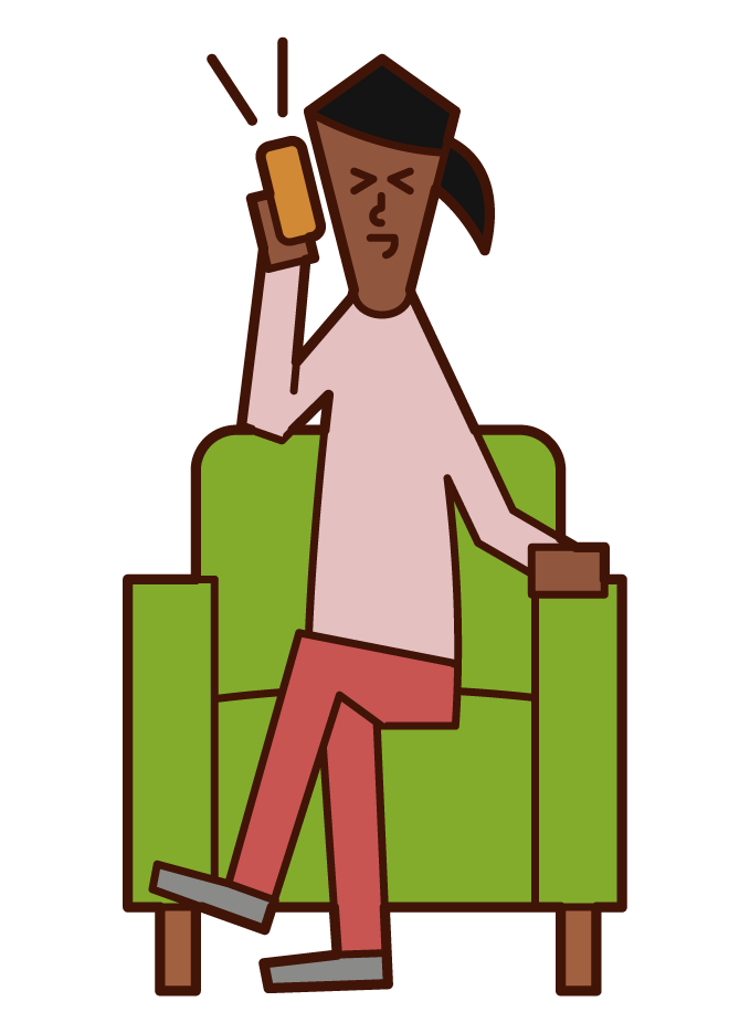 電話を楽しむ人(女性)のイラスト