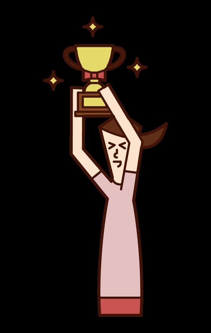 舉著獎盃的人(女性)的插圖