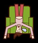 躺在沙發上的人(女性)的插圖