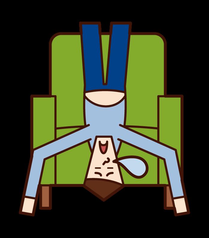 소파에 누워있는 사람 (남성)의 그림