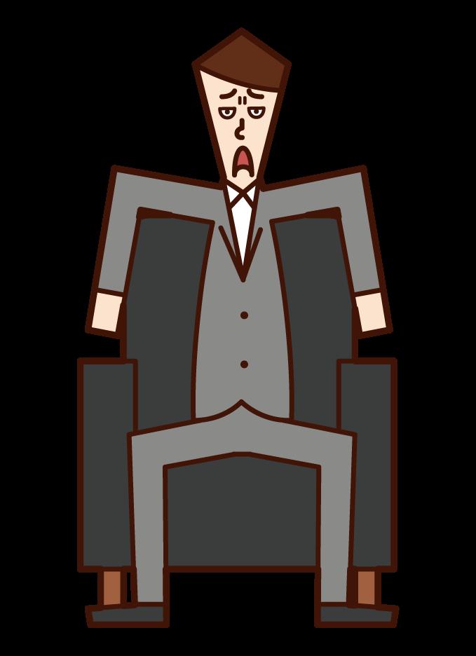 소파에 앉아있는 사람 (남성)의 그림