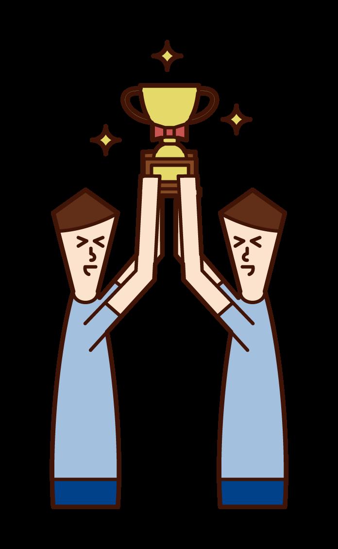 舉著獎盃的人(男性)的插圖