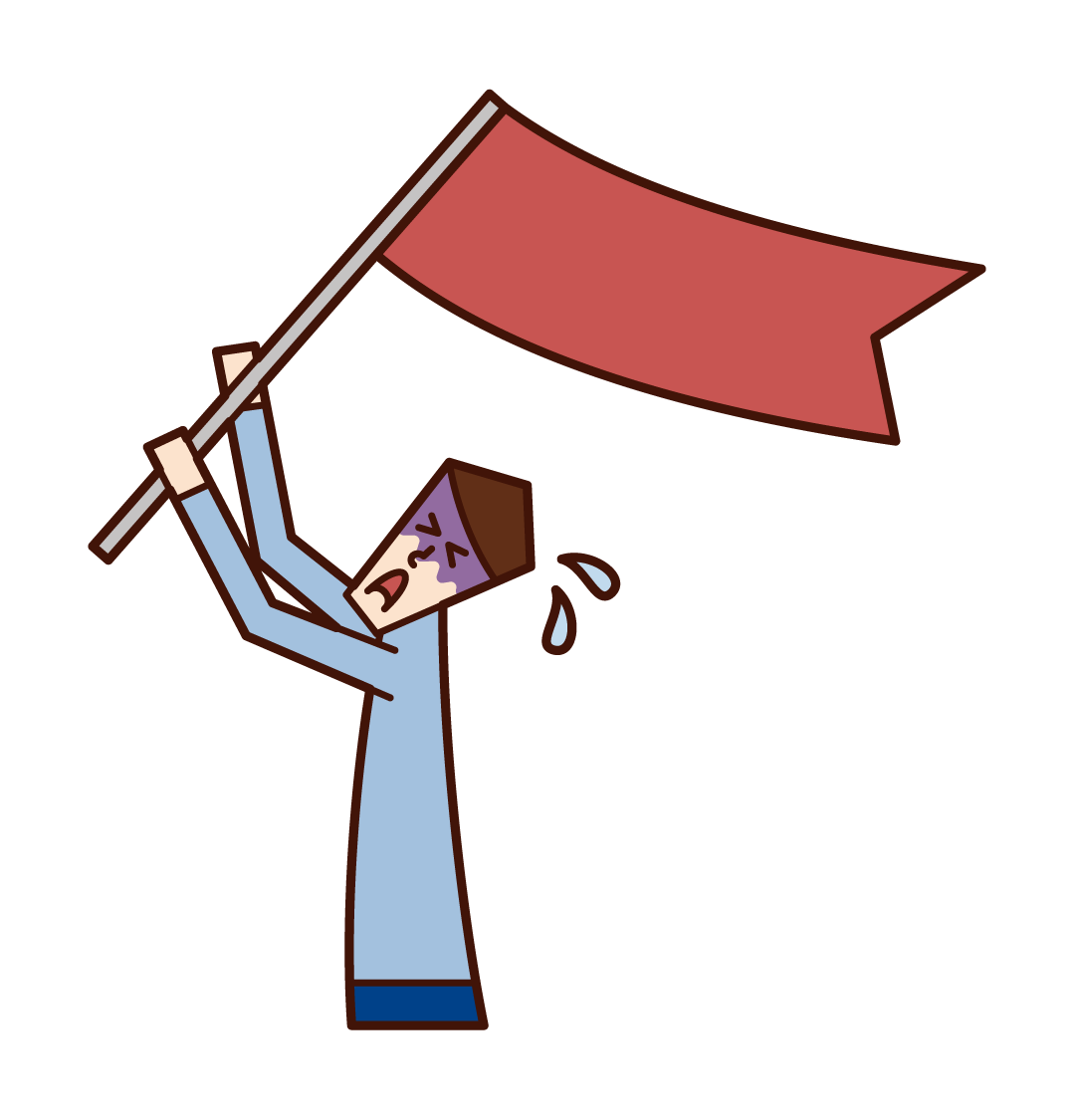 旗を振ってSOSを求める人(男性)のイラスト