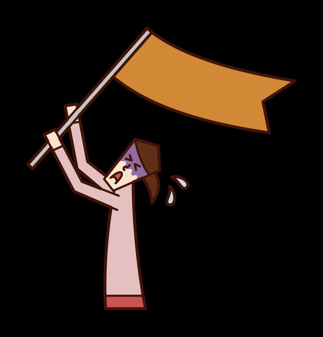 旗を振ってSOSを求める人(女性)のイラスト