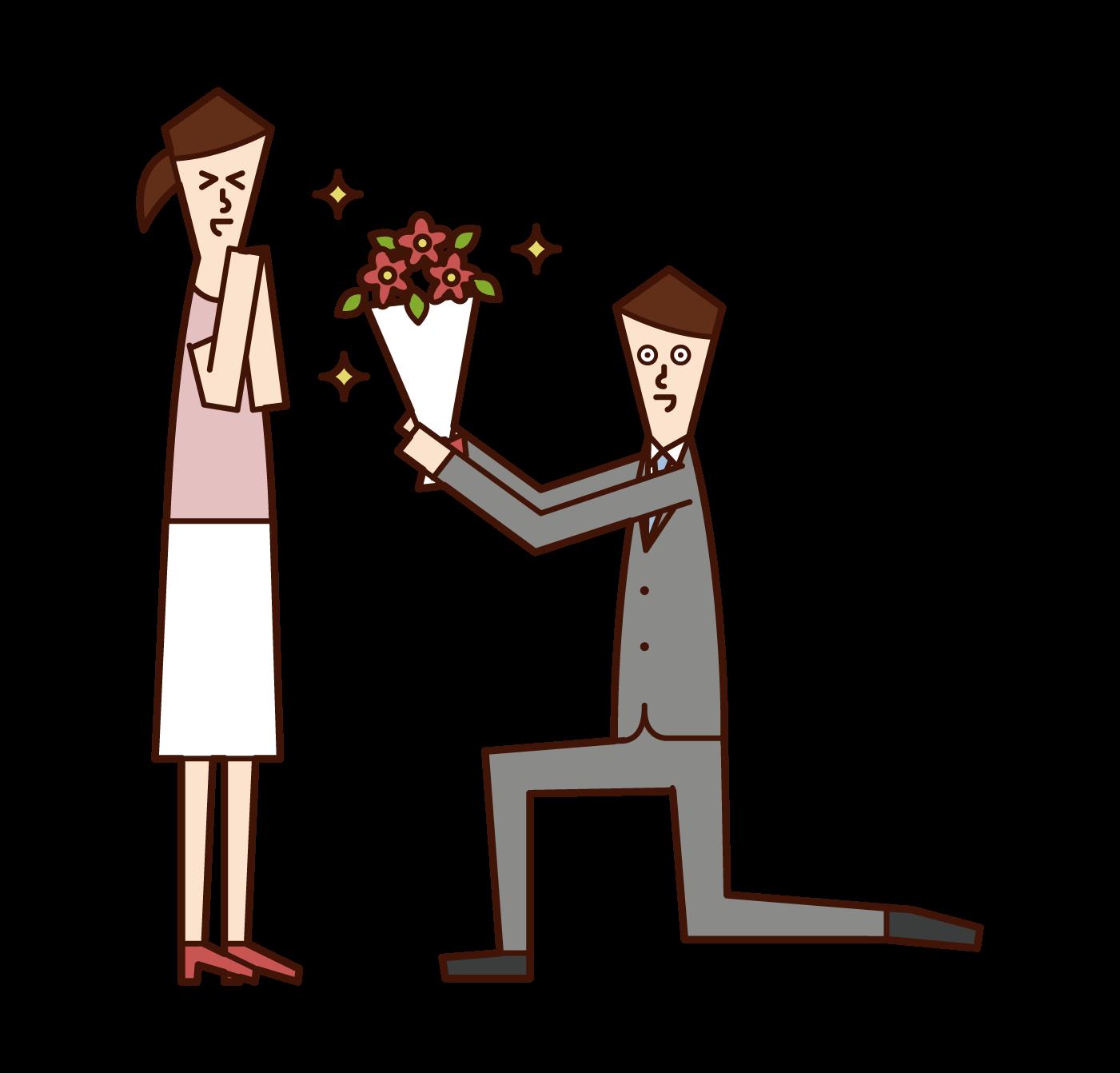 花束を渡してプロポーズする人(男性)のイラスト